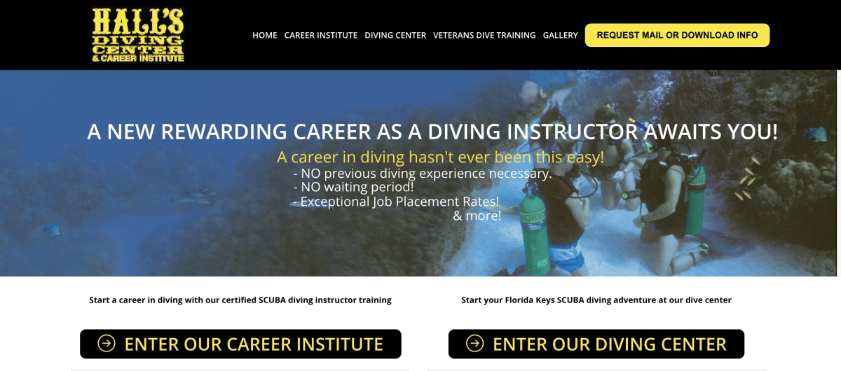 halls diving and career institute site