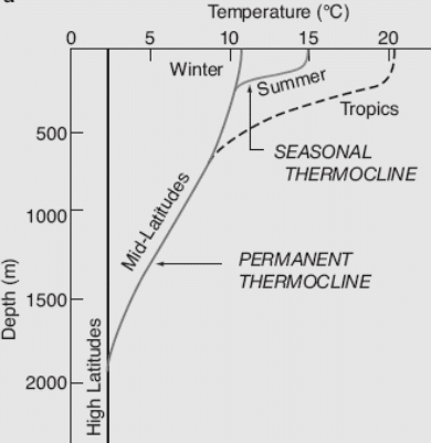 Seasonal thermocline graph