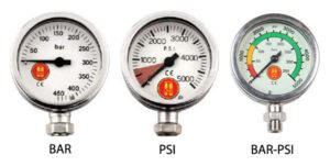 3 pressure gauges displaying bar, psi and both