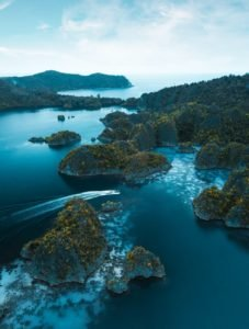 aerial shot of raja ampat